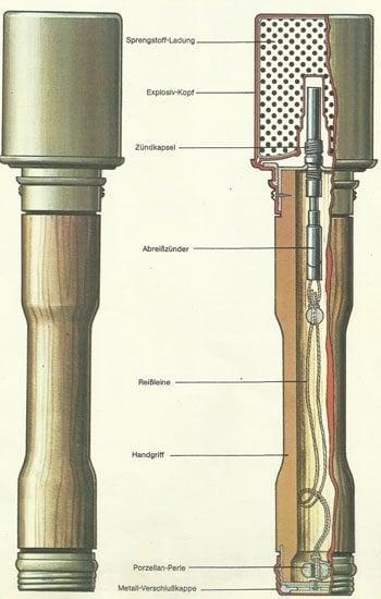 Aufbau einer deutschen Stielhandgranate