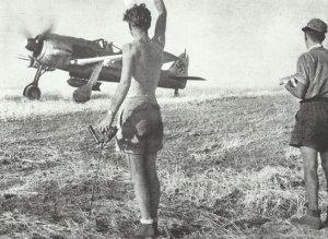 Fw 190 Jabo rollt in Italien über die Startbahn