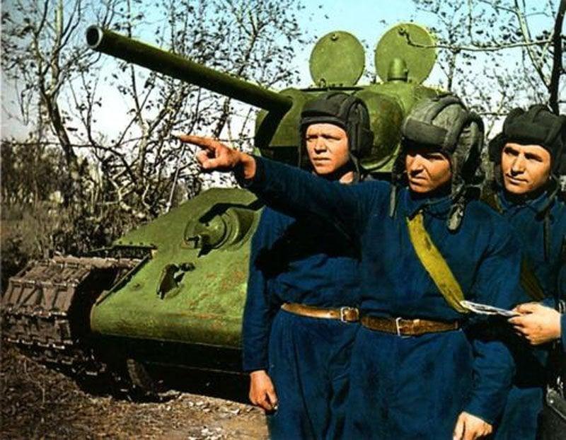 Besatzung eines sowjetischen T-34-Panzers