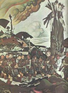 Kanadische Highlander auf dem Marsch