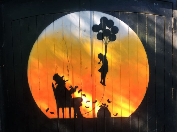 Girl with Balloons - Street Art, orb style, by Otto Schade, London