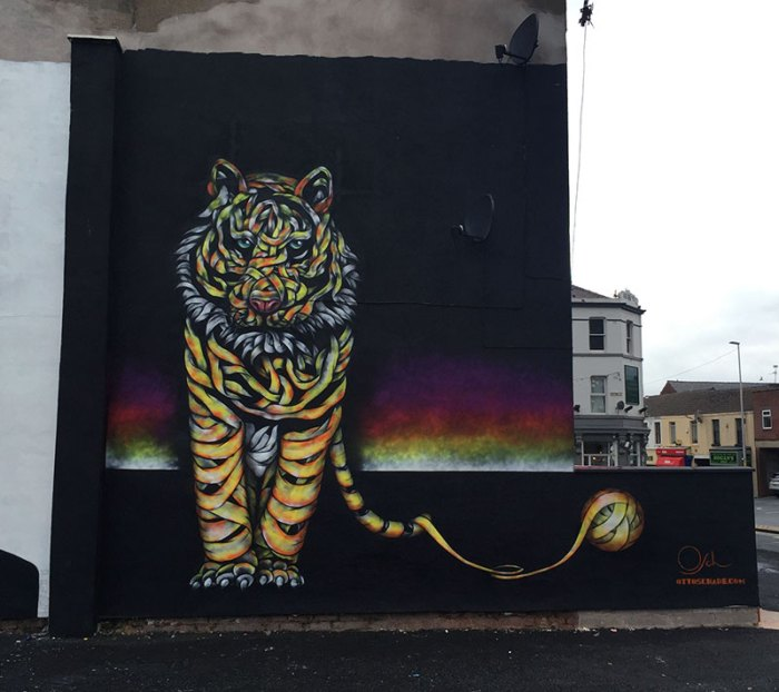 """""""Tiger Threat"""" Blackpool (Sand, Sea and Spray 2016), Street Art by Otto Schade, Ribbon Style"""