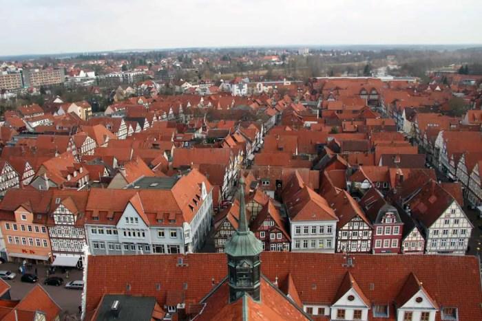 Ausblick vom Turm der Stadtkirche: Celle von oben