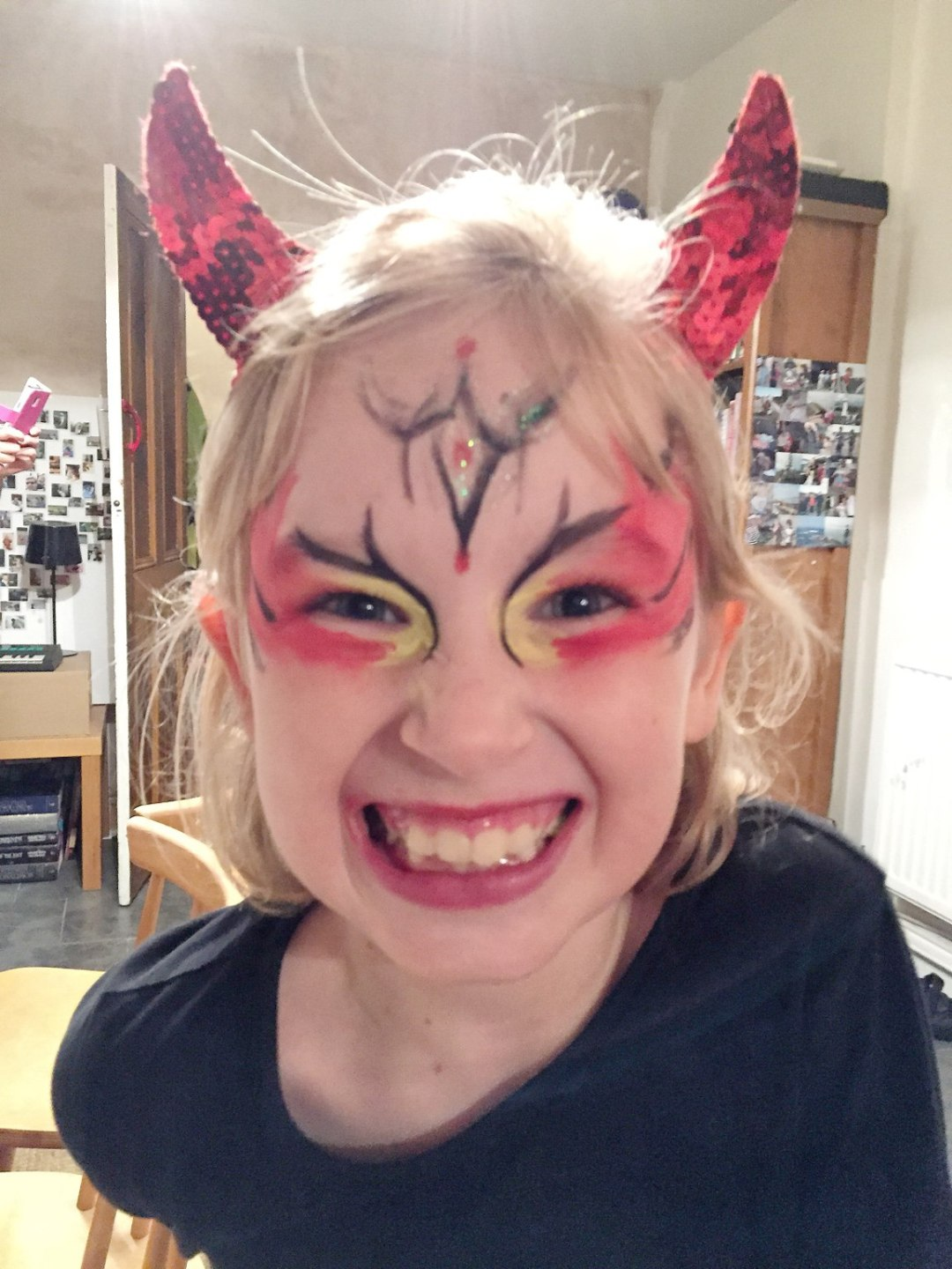 child devil face paint