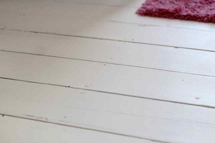 painted white floorboards