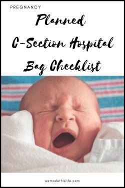 free printable c-section hospital bag list