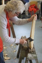 Rough shaping legs with the axe
