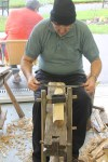 Refining stool legs with the drawknife