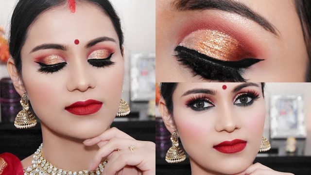 Bengali Eye Makeup Navratri Durga Puja Makeup 2018 Traditional Bengali Look Half Cut
