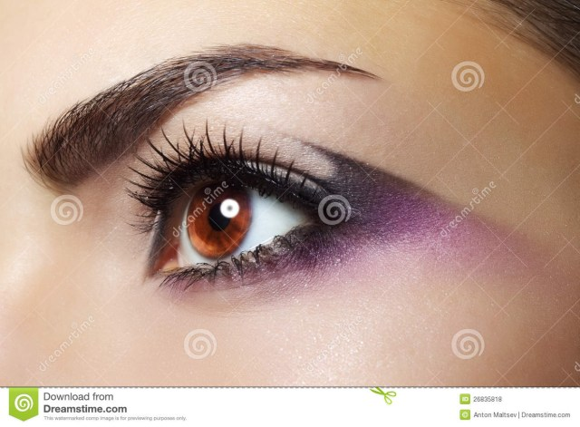 Brown And Purple Eye Makeup Purple Eye Makeup Stock Photo Image Of Eye Beautiful 26835818