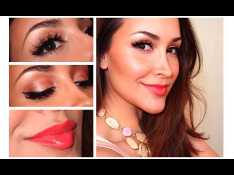 Eye Makeup For Coral Dress Makeup Tutorial Winged Liner Soft Coral Lips Youtube