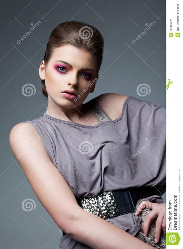 Eye Makeup With Grey Dress Portrait Of Classy Woman In Grey Dress Evening Professional Makeup
