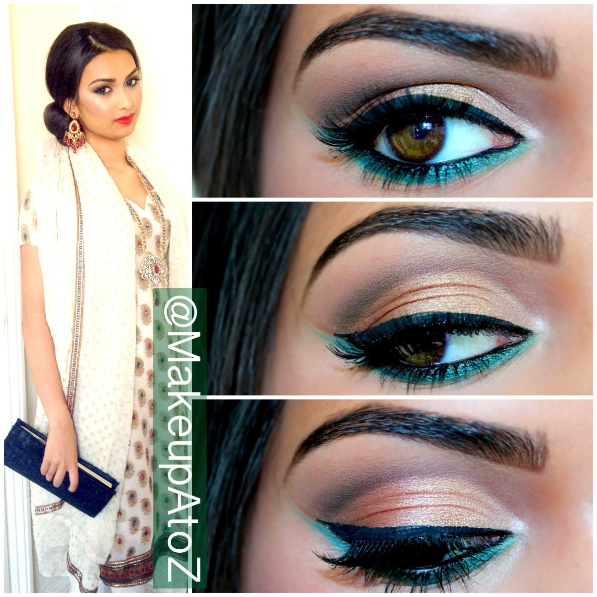 Eye Makeup With Turquoise Dress Makeup Look Gold And Green Makeup A To Z