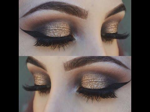 Gold And Smokey Eye Makeup Gold And Black Smokey Eye Makeup Tutorial Glittery Smokey Eye