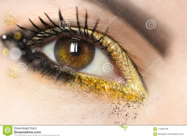 Gold Makeup For Green Eyes Womens Makeup Brown Green Eyes With Gold Eye Shadow Stock Photo
