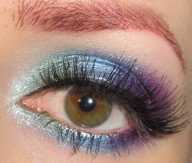 Makeup For Greenish Blue Eyes Glitter Is My Crack Green Blue And Purple Eye Makeup Look