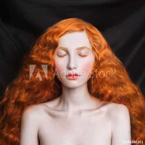 Makeup Pale Skin Blue Eyes Woman With Long Curly Red Flowing Hair On A Black Background Red