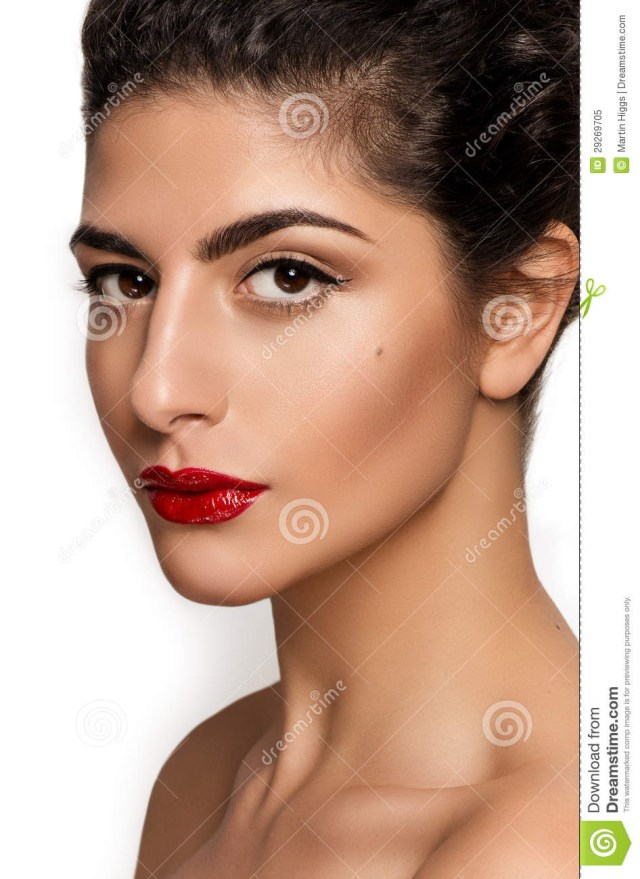 Natural Makeup For Brown Eyes Beautiful Closeup Portrait Of Young Caucasian Female Isolated On