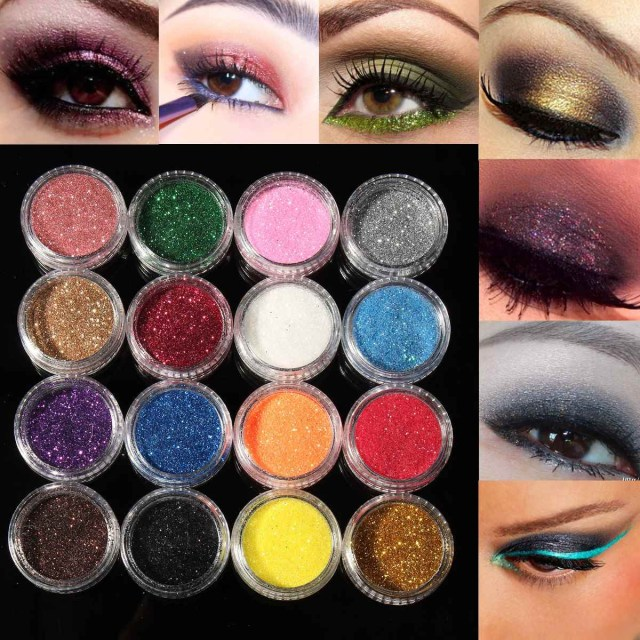 Shiny Eye Makeup Professional 16 Mixed Colors Glitter Eyeshadow Eye Shadow Makeup