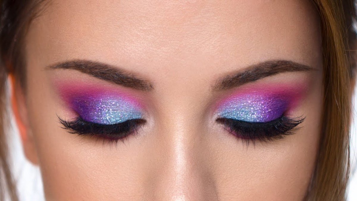 Simple Pink Eye Makeup Colorful Glitter Smokey Eye Makeup Tutorial Purple Teal And Pink