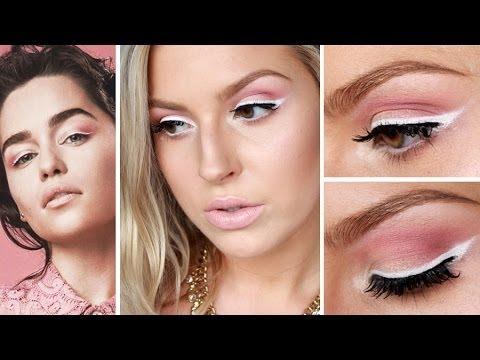 White And Pink Eye Makeup Emilia Clarke Inspired Spring Makeup White Eyeliner Pink