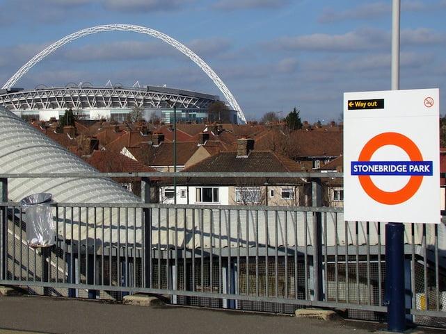 Stonebridge station with Wembley Stadium in backdrop