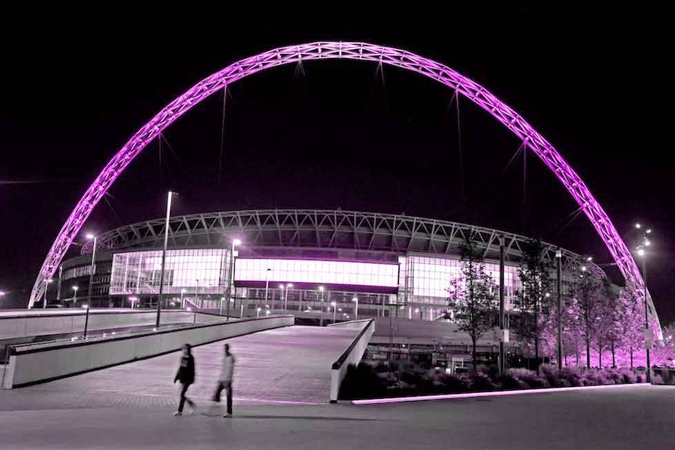 Wembley's arch goes purple for Prince