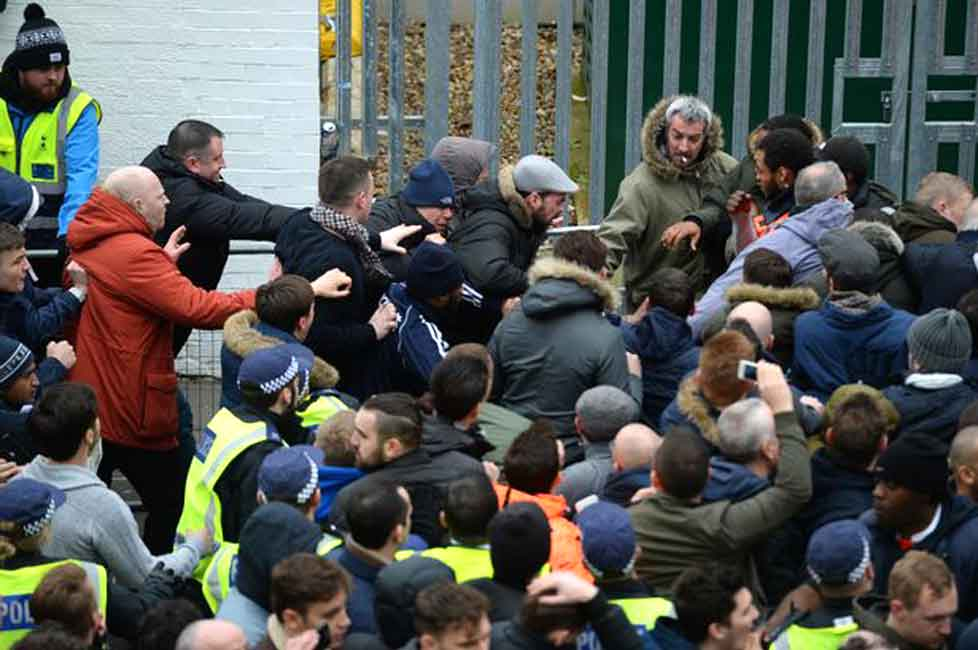 Fans fighting at White Hart Lane