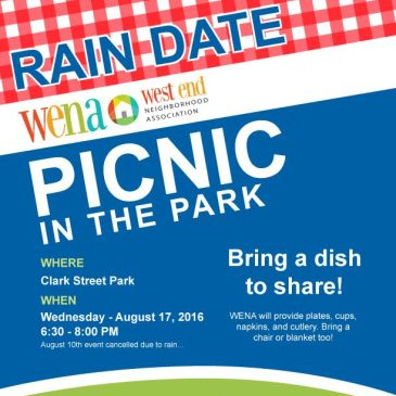 RAIN DATE: WENA Picnic in the Park Aug 17 @ 6:30 pm – 8:00 pm