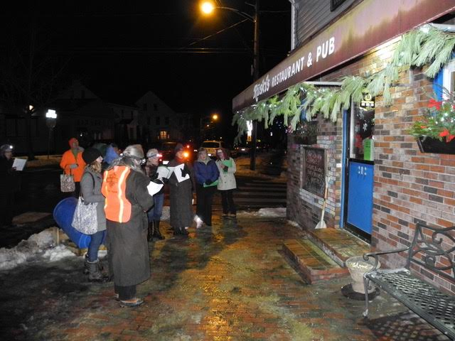 West End Carolers in front of Ruski's.