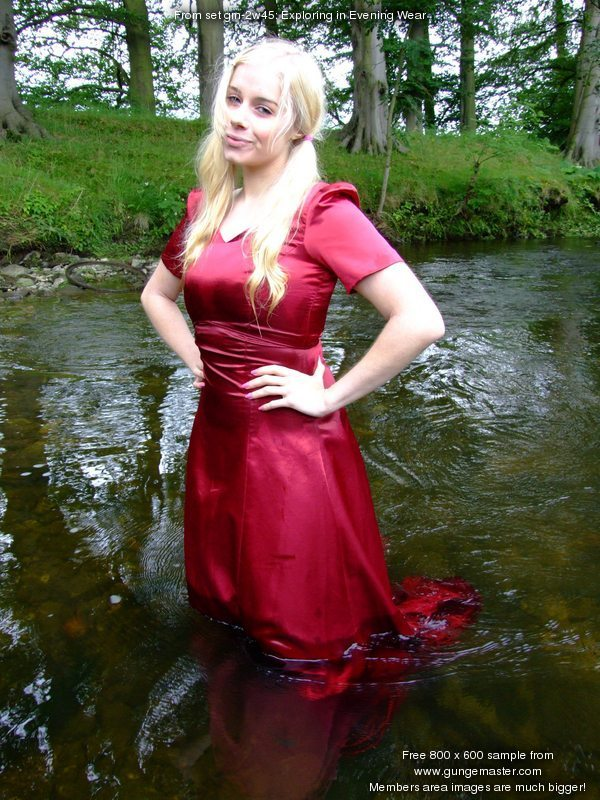 Exploring in Evening Wear  Modestys Red Satin River Bath