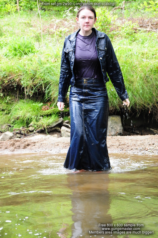 Long denim skirtsoaking  Chastity takes a dip in the