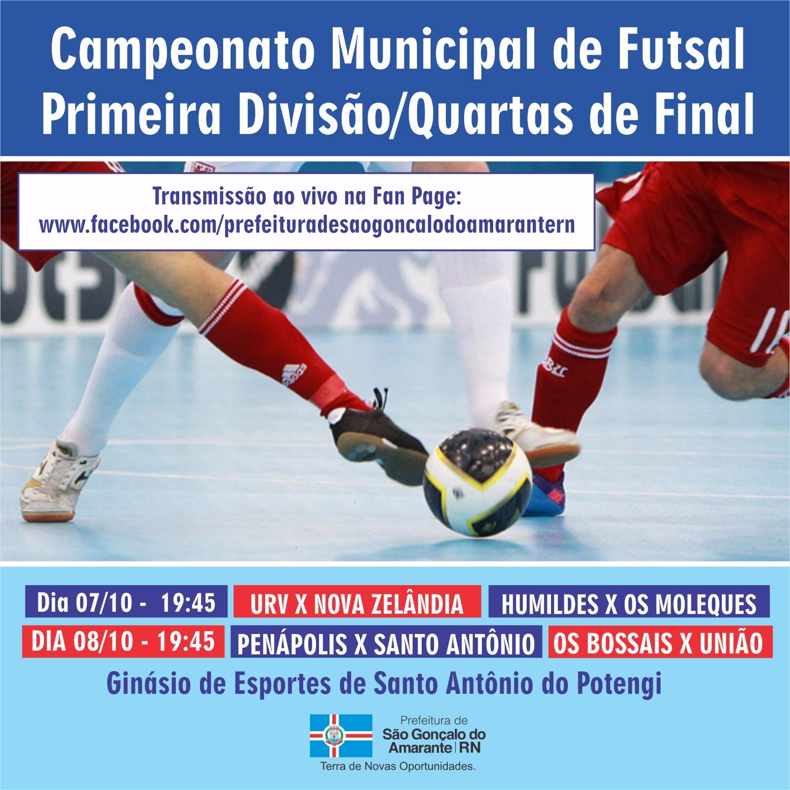 Futsal de São Gonçalo entra nas disputas das quartas de final