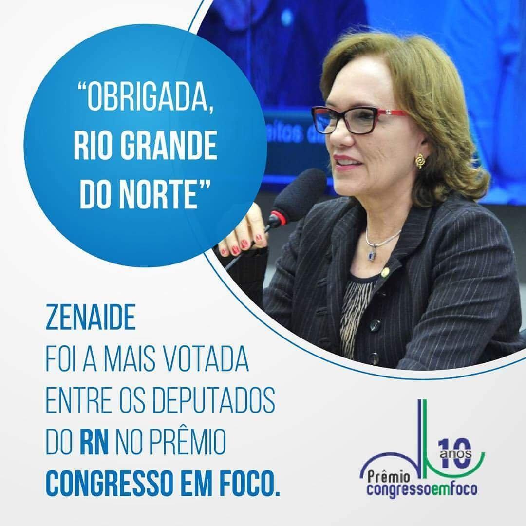Zenaide Maia entre os mais votados do Prêmio Congresso em Foco