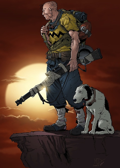 Charlie Brown and Snoopy in a Mad Max World