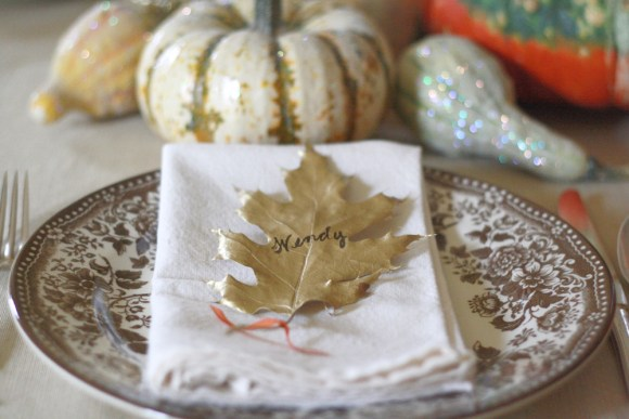 Thanksgiving Table Ideas Gold Leaf Place Cards
