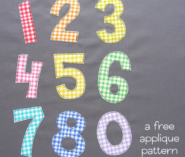 Simple Applique Numbers In Gingham Print On Grey Fabric