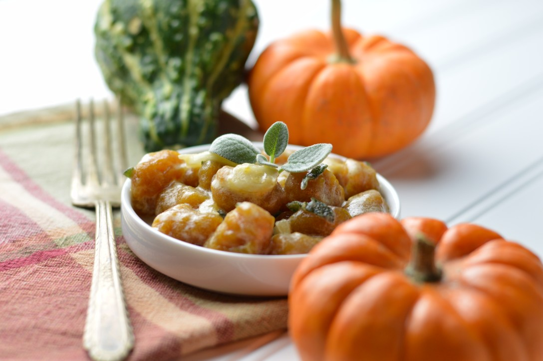 Pumpkin Gnocchi & light lemon sage sauce surrounded by mini pumpkins