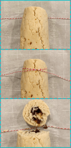 Collage of how to cut the roll cookie with baker's twine