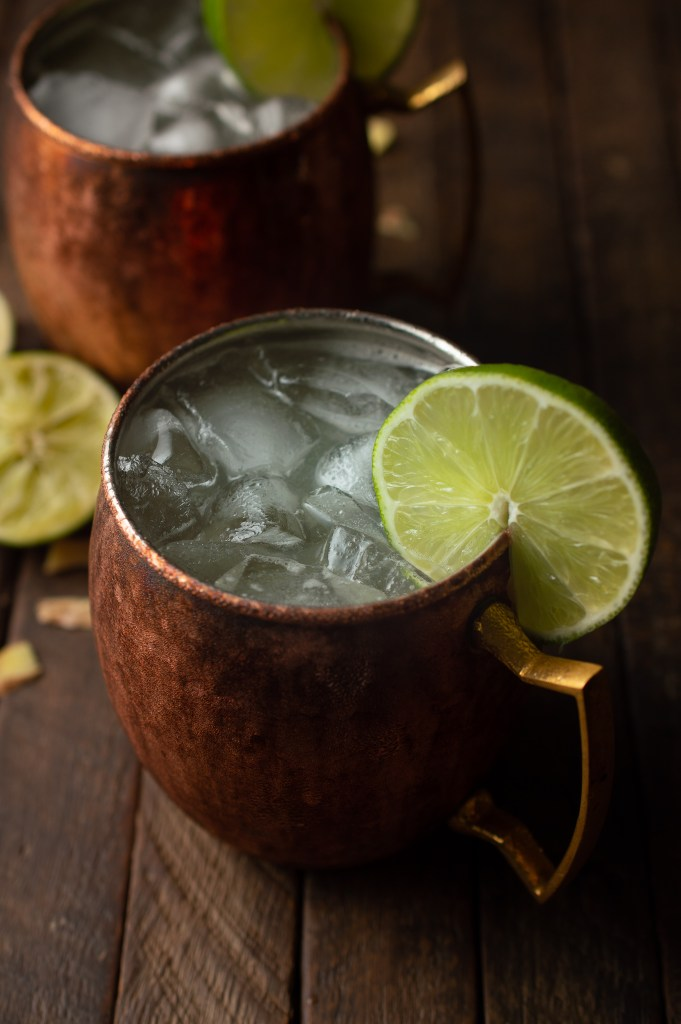 Closeup of refreshing No-alcohol Moscow Mule in a copper mug with a lime wheel