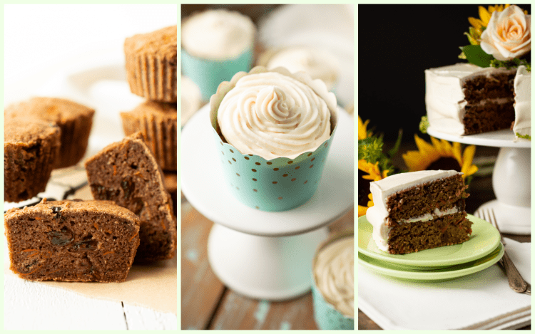 Collage of Carrot Cake Everything showing muffins, cupcakes and a double decker carrot cake decked out in fall-colored flowers