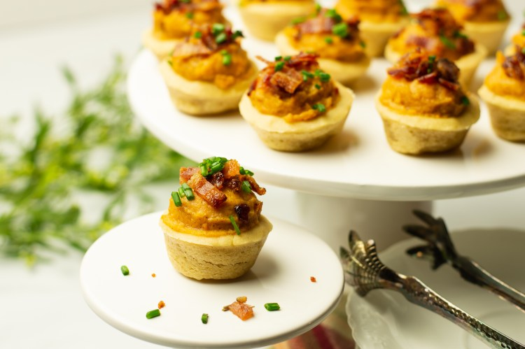 Closeup of Sweet Potato Bites with Candied Bacon