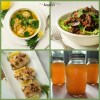 Collage of AIP food items, including bone broth