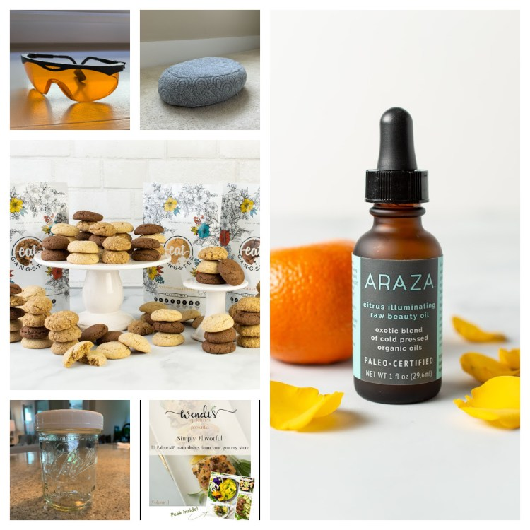 A collage of AIP Gift Ideas, including cookies, blue blocker glasses, citrus facial oil, ball jars, and a cookbook