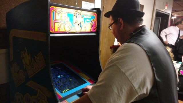 Bobby Rocking out with Ms. Pac Man.