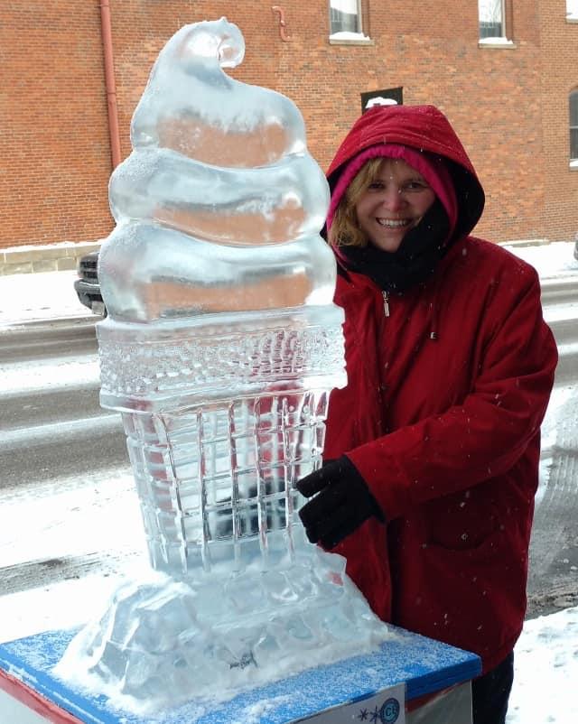 Ice Cream Ice Sculpture--it's never too cold for ice cream!
