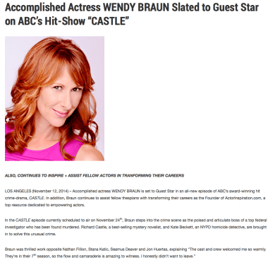 """Accomplished Actress Wendy Braun Slated To Guest Star on ABC's Hit Show """