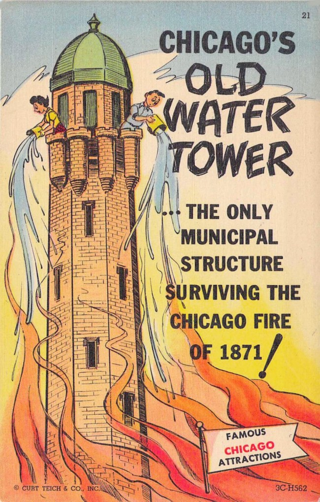 POSTCARD - CHICAGO - CURT TEICH - CARTOON TOURIST ATTRACTION SERIES - OLD WATER TOWER - c1950