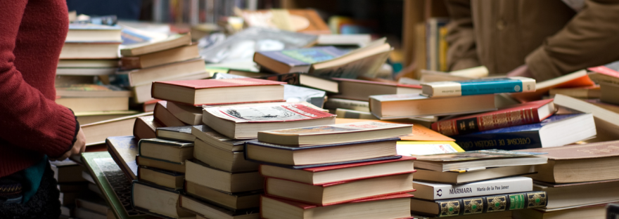 Header image of piles of second-hand books