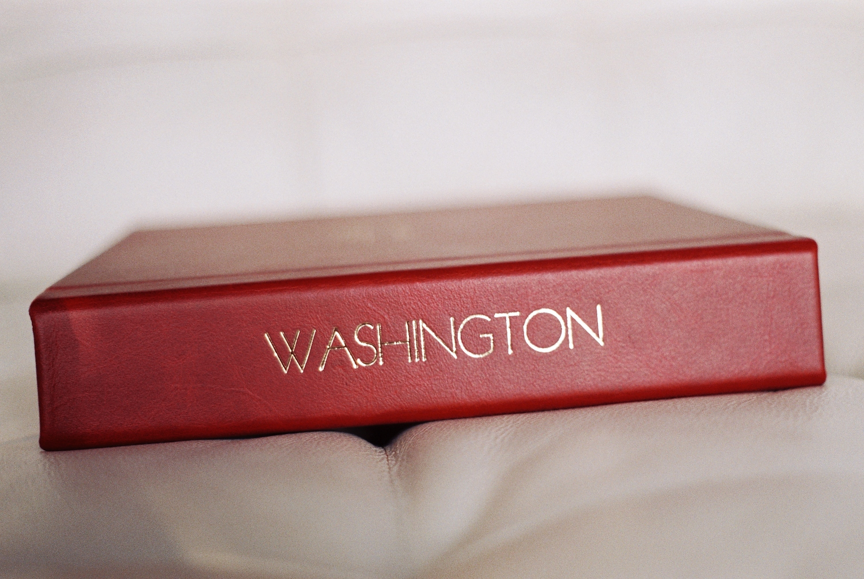 top wedding photo album by Leather Craftsmen imprinting on binding